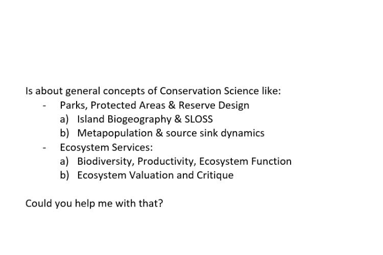 biodiversity homework