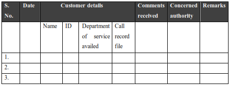 Representation of a form that could be used by one of the organisations for recording informal comments made by customers