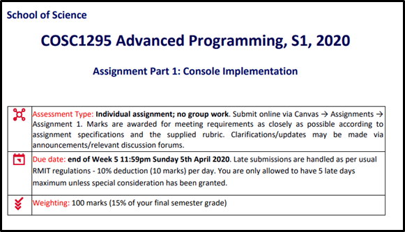COSC1295 Advanced Programming