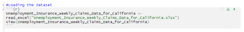 image shows the code to load the dataset to RStudio for analysis