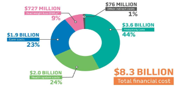pie chart shows total financial cost