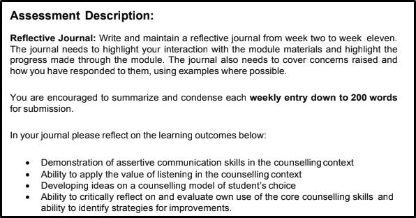 reflective journal assessment description