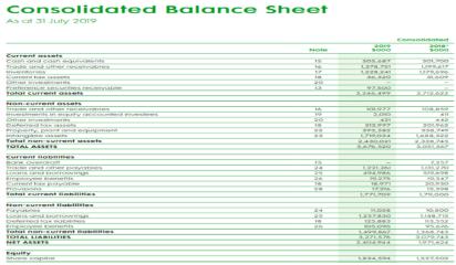 image illustrates consolidated balance sheet