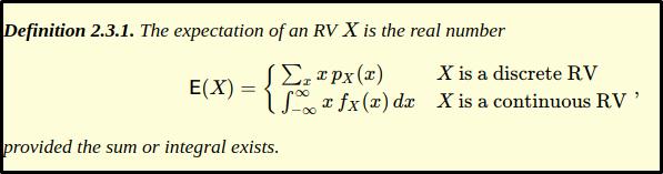 expectation of a random variable 1