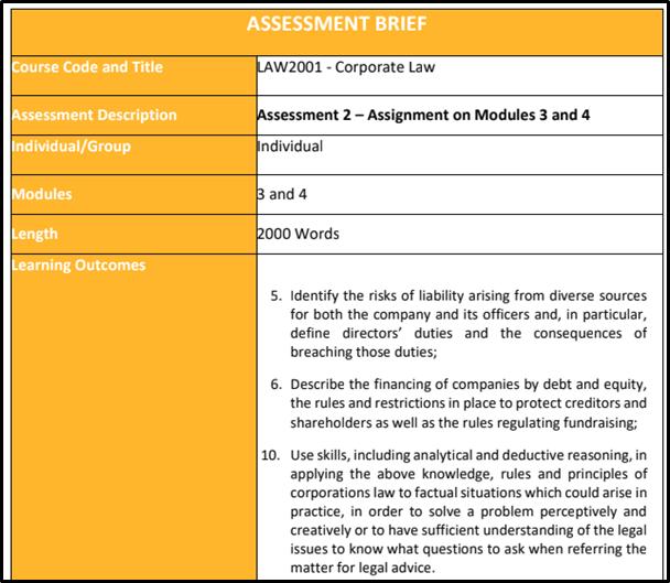LAW2001 assessment breif