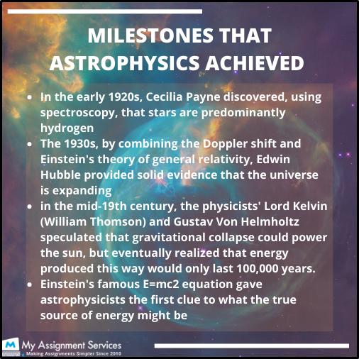 milestone that astrophysics achieved