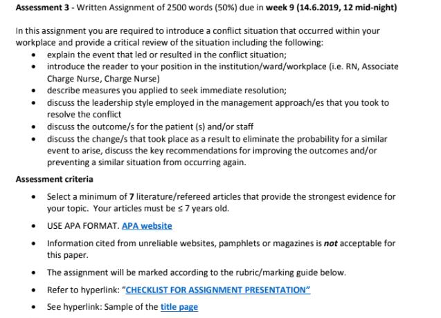 Clinical Nursing Assignment