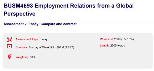 Employment Relations assignment help