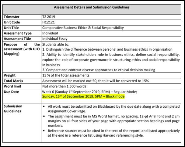 business ethics assessment 1