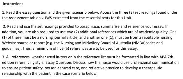 Communication in Nursing Assessment Sample