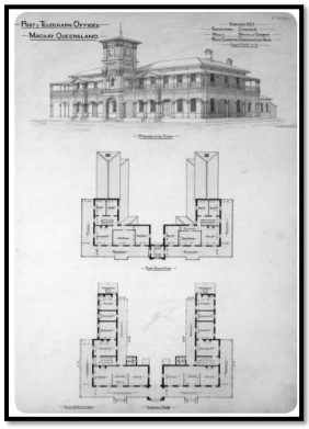 The original construction blueprint for the building