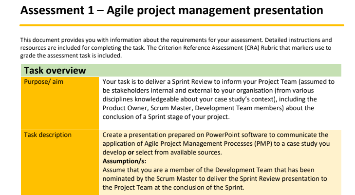Agile Project Management Assignment Help