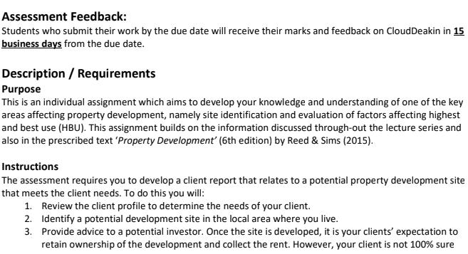 Property Development Assignment Help