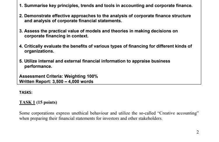 Best Managerial Finance Practical Assessment Help