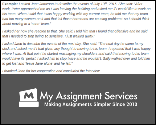 management investigation report sample 3