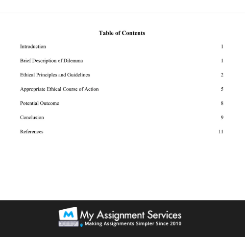 Assignment Help Hobart - Table of Content