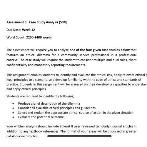 Assignment Help Hobart - Case Study