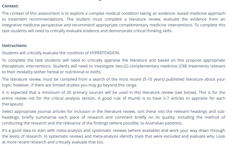 Integrative Complementary Medicine Report Writing Help
