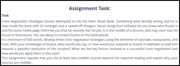 Crisis Negotiation Strategies sample