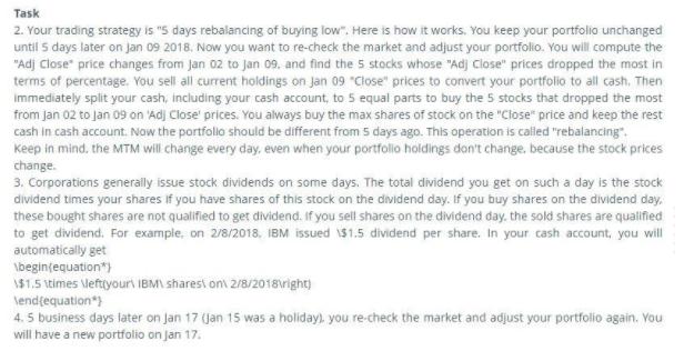 Task 5 days rebalancing of buying low