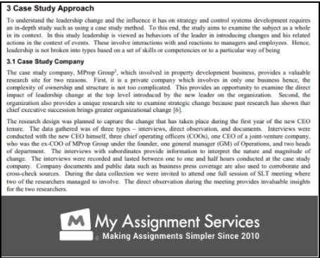 Leadership Case Study Approach
