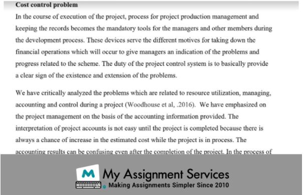Cost control problem