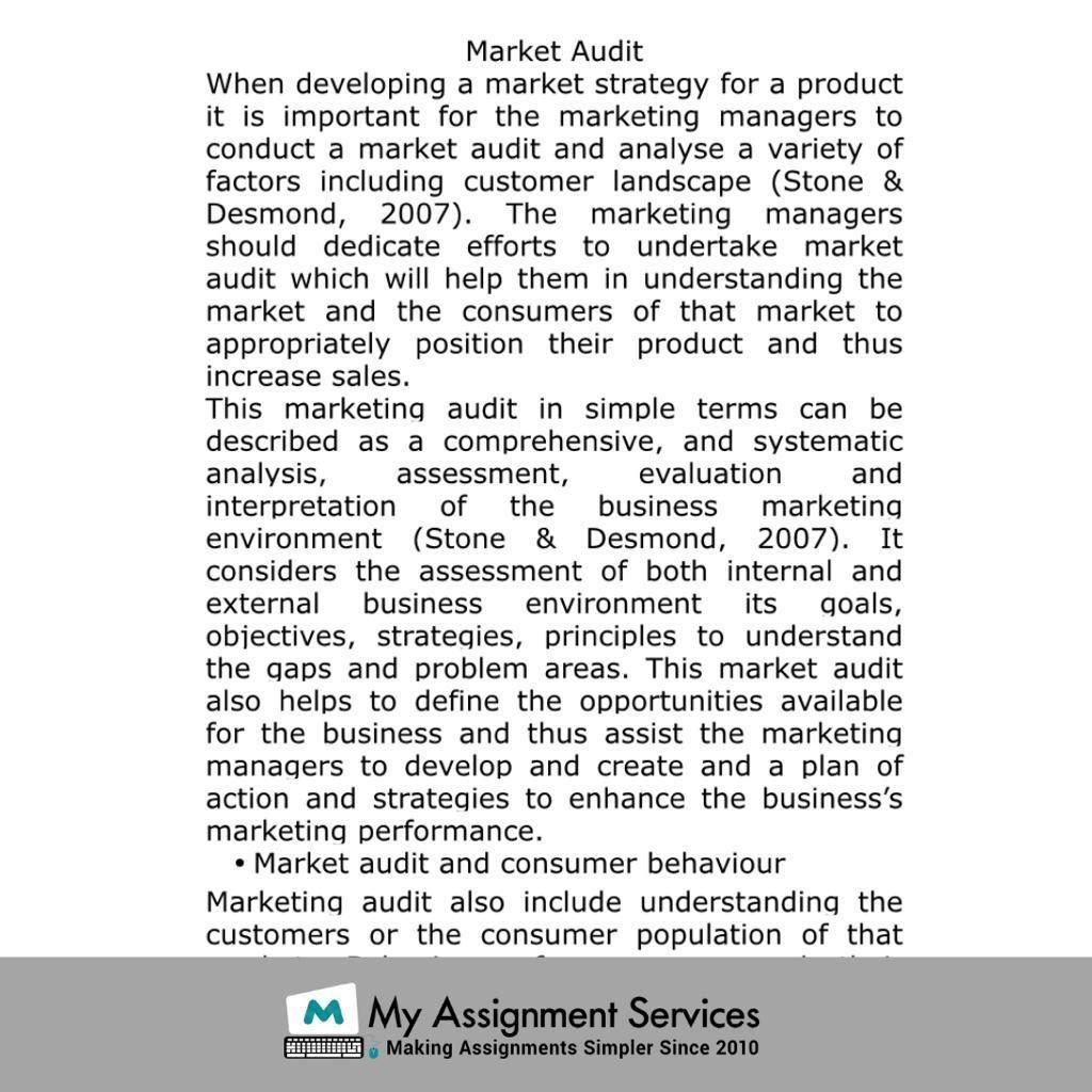 market audit sample