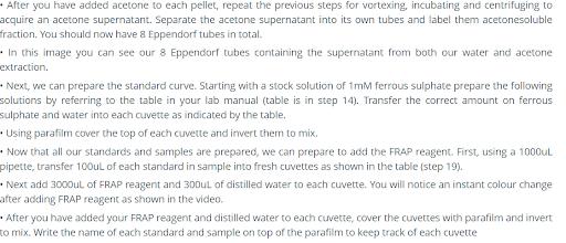 food science antioxidant sample mixtures