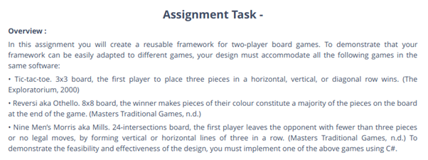 Game Framework assignment task