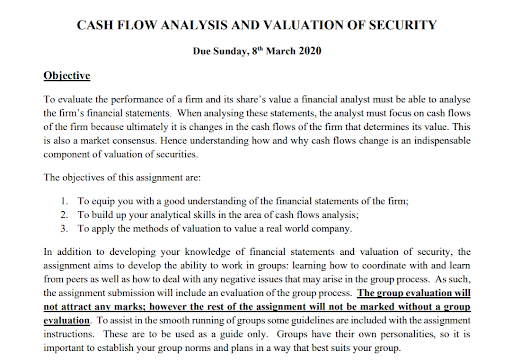 cash flow analysis and valuation