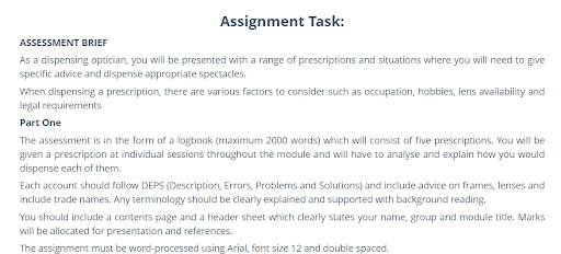 Optical Dispensing Assignment sample