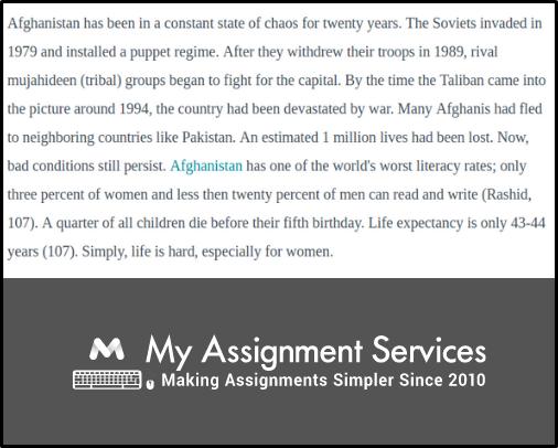 Afghanistan Essay Sample